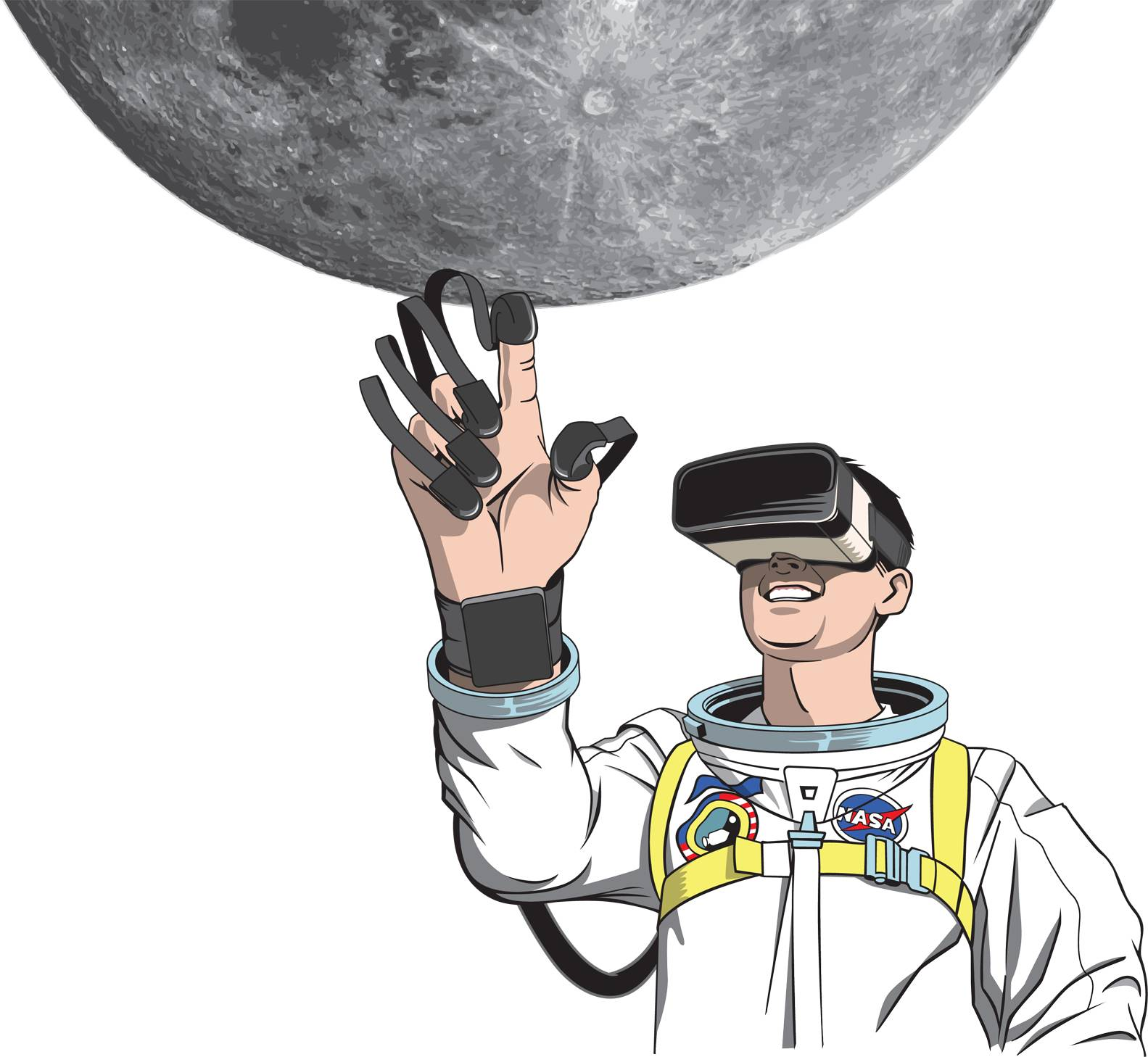 Chaffee in VR goggles reaches for the Moon